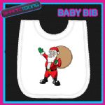 SANTA CLAUS FATHER CHRISTMAS WHITE BABY BIB PRINTED DESIGN - 160888648797